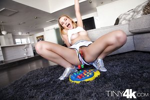 Huge dick has no mercy to shaved pussy of teenage blonde Macy Meadows