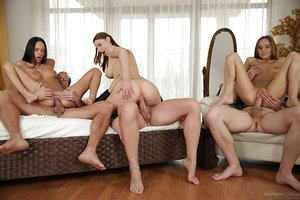 Sabrina Moor and Eveline Neill get eaten before they are fucked rigid