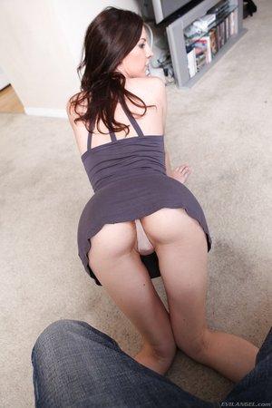 Dark-haired Chloe Scott always seduces stud with sexy arse in panties at effortless