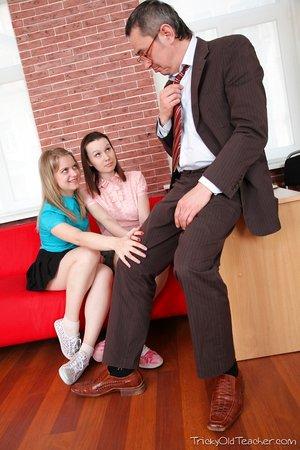 Horny schoolgirls seduce their beloved teacher for a stacked ass 3some fuck